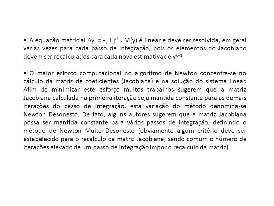 A equação matricial y = -[ J ]-1